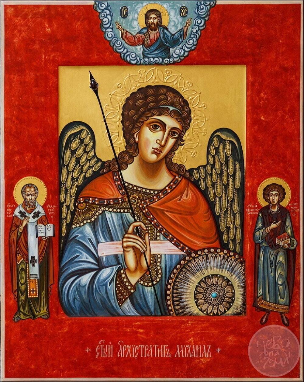 Архангел Михаил с предстоящими святыми. Семейная иконописная мастерская НЕБО НА ЗЕМЛЕ
