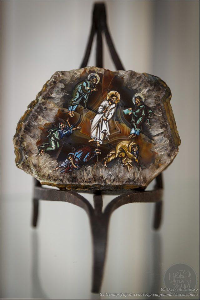 ікона Преображення Господнє написана на агаті